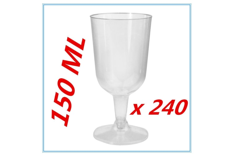 240 PK DISPOSABLE PARTY PLASTIC CLEAR WINE GLASS CUPS ALL Occasions FUNCTIONS FW