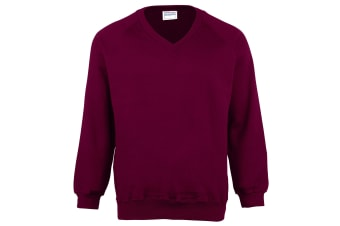 Maddins Childrens Unisex Coloursure V-Neck Sweatshirt / Schoolwear (Burgundy) (24)