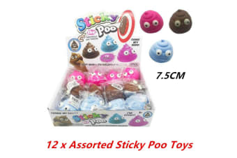 12 x Emoji Sticky Poo Novelty Toy Soft Mouldable Emoticon Squeeze Stress Throw