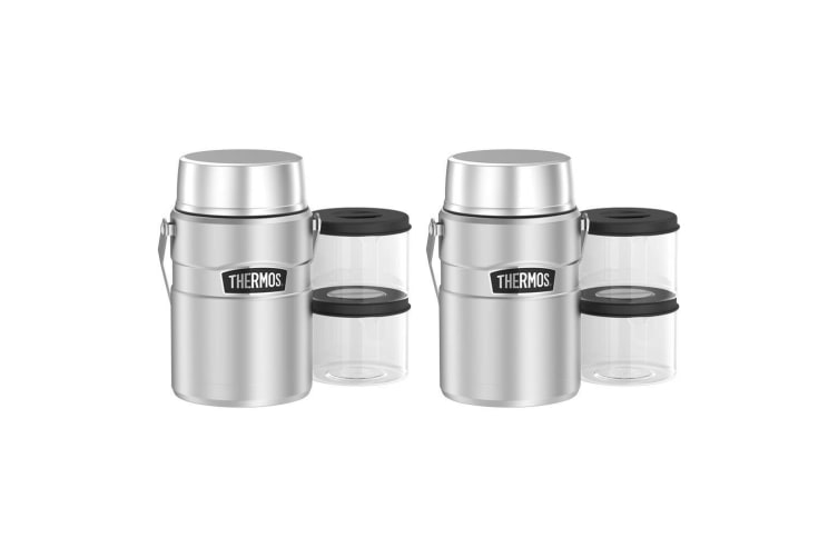 2PK Thermos 1.39L Insulated Stainless Steel King Big Boss Food Jar w  Containers