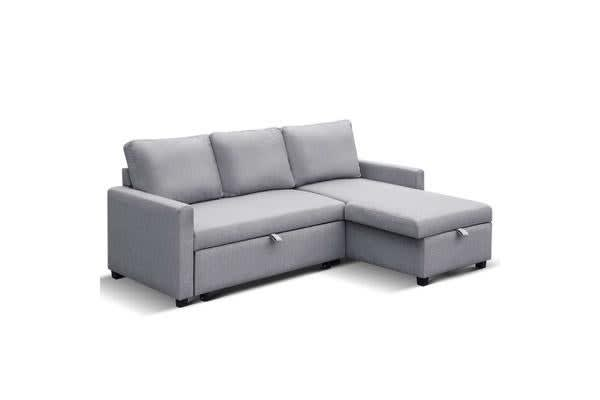 3 Seater Fabric Sofa Bed With Storage Grey