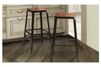 2x Vintage Industry Rustic Bar Stool Square Wood Seat