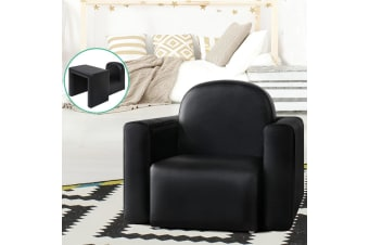 Artiss Kids Chair Sofa Recliner Children Table Desk Armchair Leather Couch Black