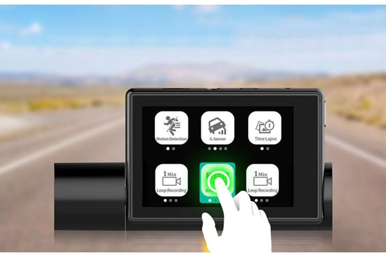 """Elinz 4K Ultra HD Dual Dash Cam 3"""" OLED Touch Screen WiFi Reverse Camera GPS Sony Supercapacitor"""