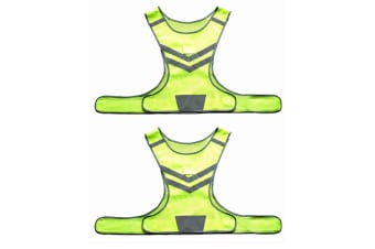 2PK Hi Vis Reflective/LED Flashing Running/Cycling Safety Vest Jacket Waistcoat