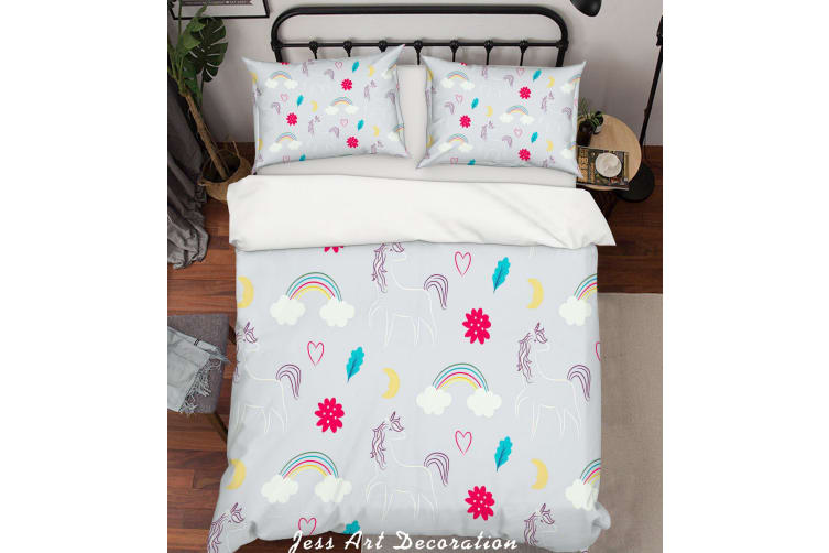 3D Grey Unicorn Rainbow Floral Quilt Cover Set Bedding Set Pillowcases 39-King