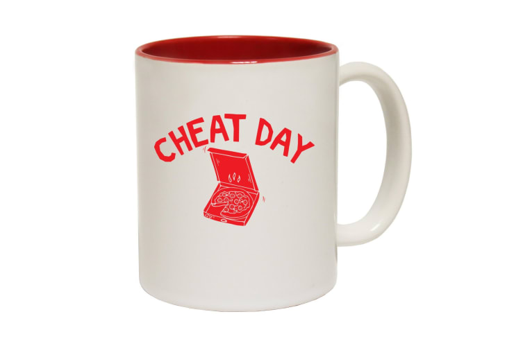 123T Funny Mugs - Cheat Day Pizza - Red Coffee Cup