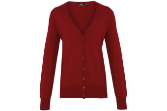 Premier Womens/Ladies Button Through Long Sleeve V-neck Knitted Cardigan (Burgundy) (24)