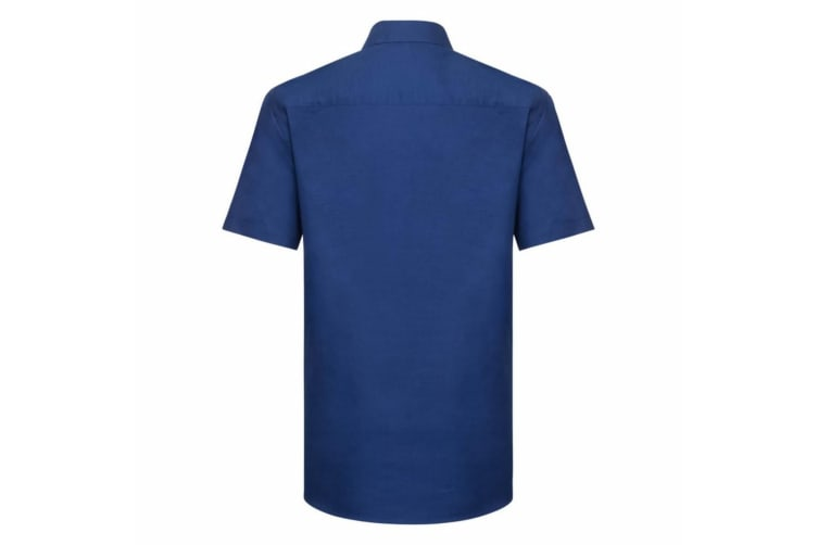 Russell Collection Mens Short Sleeve Easy Care Tailored Oxford Shirt (Bright Royal) (18.5inch)