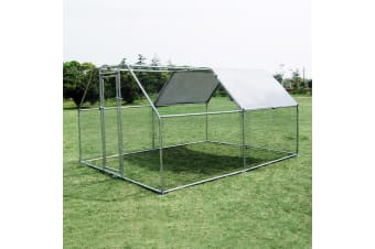 3.8M x 2.8M Large Metal Chicken Coop Walk-in Cage Run House Shade Pen W/ Cover