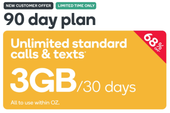Kogan Mobile Prepaid Voucher Code: SMALL (90 Days | 3GB Per 30 Days) - New Customers Only