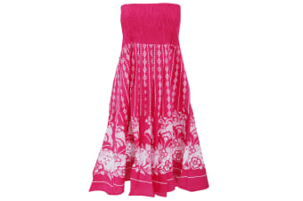 Womens/Ladies Dotty Floral 2 In 1 Cotton Dress (Pink) (Small - UK 8-10)