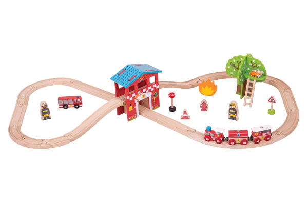 Bigjigs Fire Station Train Set  - 39pcs