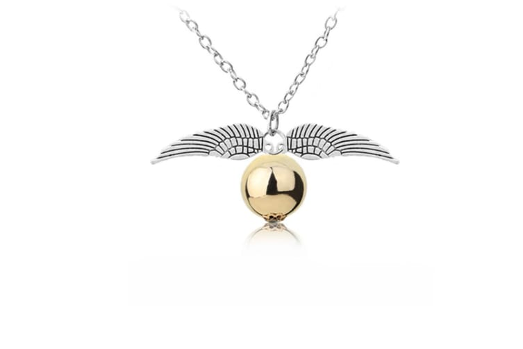 Harry Potter Golden Snitch Necklace with Flying Quidditch Angel Wings Silver
