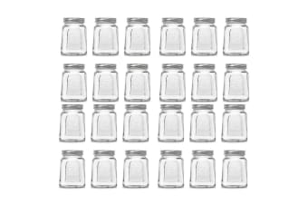 24pc Modena 475ml Square Food Jars/Canisters w/ Airtight Lids Home Storage Clear