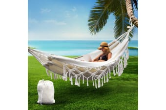Hanging Rope Hammock Swing Bed Tassel Camping Outdoor 2 Person