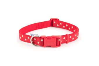 Ancol Pet Products Indulgence Adjustable Vintage Polka Dot Dog Collar (Red/White) (Size 1-2)