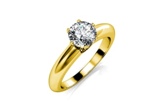 Jewel In The Palace Solitaire Ring w/Swarovski Crystals-Gold/Clear Size US 7