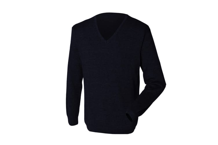 Henbury Mens 12 Gauge Fine Knit V-Neck Jumper / Sweatshirt (Navy) (2XS)
