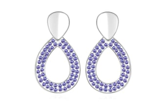 Fabulously You Earrings w/Swarovski Crystals-White Gold/Purple