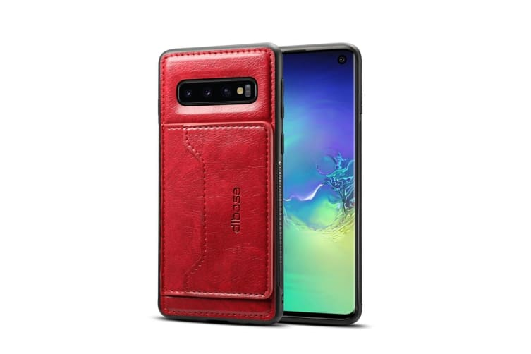 For Samsung Galaxy S10e Case Red Wild Horse Texture Folio Leather Wallet Cover