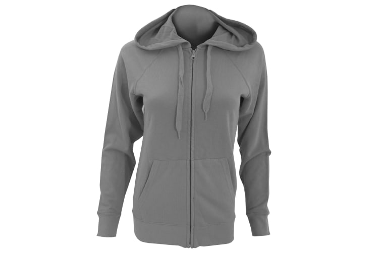 Fruit Of The Loom Ladies Fitted Lightweight Hooded Sweatshirts Jacket / Zoodie (240 GSM) (Light Graphite) (XL)