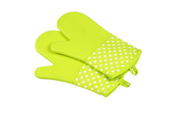 Extra Long Quilted Cotton Lining Heat Resistant Silicone Oven Mitts Green