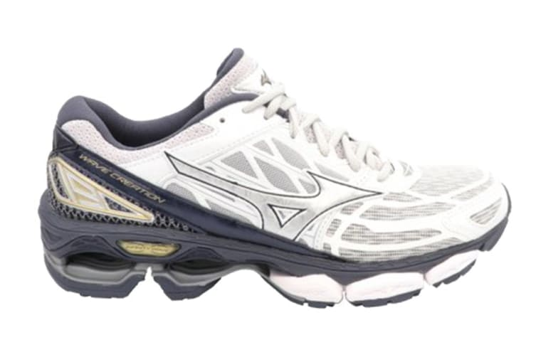 Mizuno Women's WAVE CREATION 19 NOVA Running Shoe (White/Silver/Light Gold, Size 7 US)