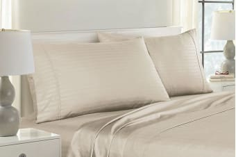 Royal Comfort Striped Bamboo Blend Pillowcase Twin Pack (Sand)