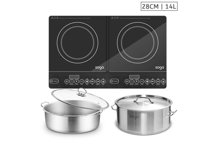 SOGA Dual Burners Cooktop Stove, 14L Stainless Steel Stockpot and 28cm Induction Casserole