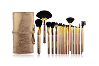 20Pcs Fashion Cosmetic Brushes With Pu Cosmetic Bags Champagne