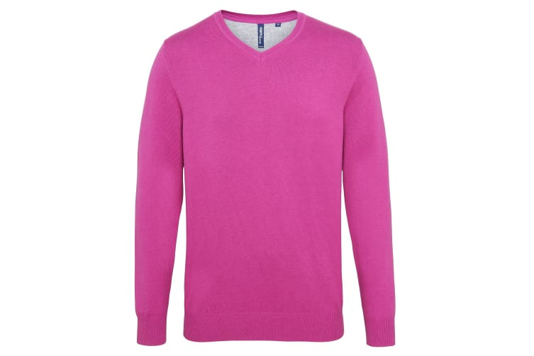 Asquith & Fox Mens Cotton Rich V-Neck Sweater (Orchid Heather) (S)