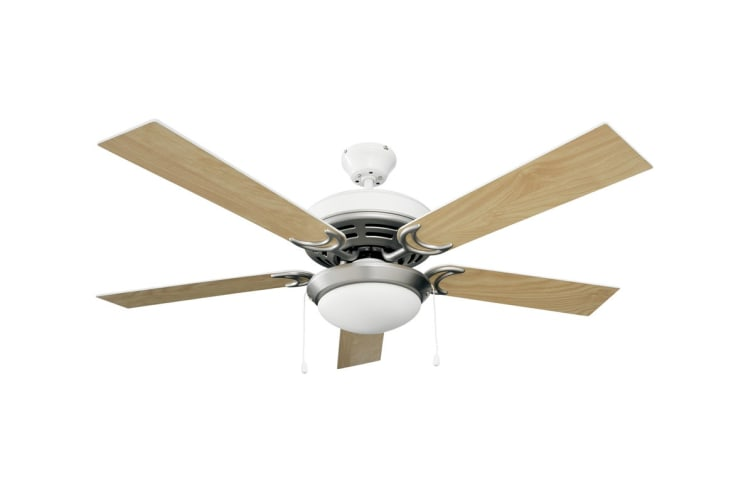 Heller 1200mm 5 Blade Reversible Ceiling Fan with Pull Chain Control & Decorative Light Kit  - Washed Oak/White (DESTINY)