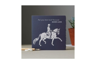 Deckled Edge Colour Block Pony Greetings Card (Put Your Best Hoof Forward Good Luck - Dressage Horse (Navy))