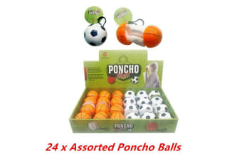 24 x Poncho Ball Disposable Rain Jacket with Storage Case Bag Clip Unisex Wear