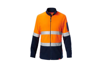 Hard Yakka Men's Hi Vis Polar Fleece Jumper With Tape (Orange/Navy)