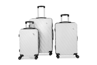 Todo Ultra Light Luggage Set 3Pcs Hard Shell Combination Locks - White