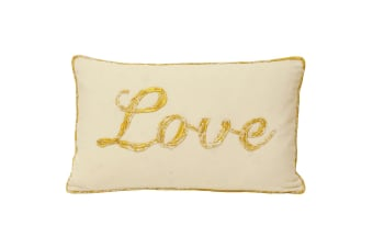 Riva Home Christmas Tide Love Cushion Cover (Gold) (30x50cm)