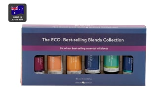 ECO. Aroma Essential Oil Blends Collection - 6 Pack (Energy, Sleep, Sinus Clear, Calm Destress, Women's & Dream Drops)