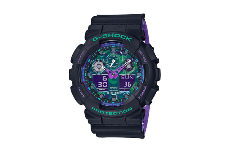Casio G-Shock Analog Digital Watch with Resin Band - Black/Purple (GA100BL-1A)