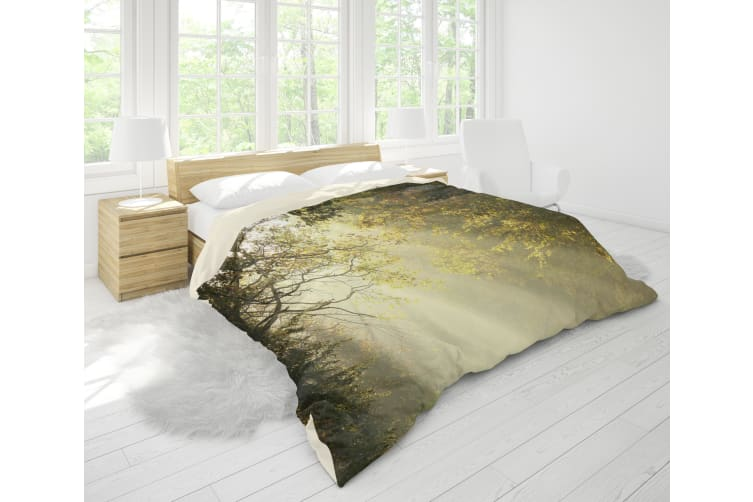 3D Golden Forest Road Sunlight Quilt Cover Set Bedding Set Pillowcases 105-King