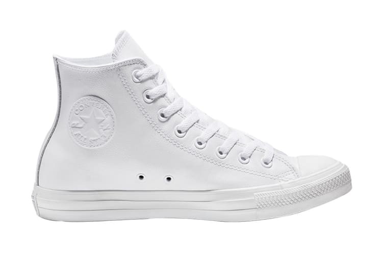 Converse Unisex Chuck Taylor All Star Leather Hi (White Monochrome, Size 7)
