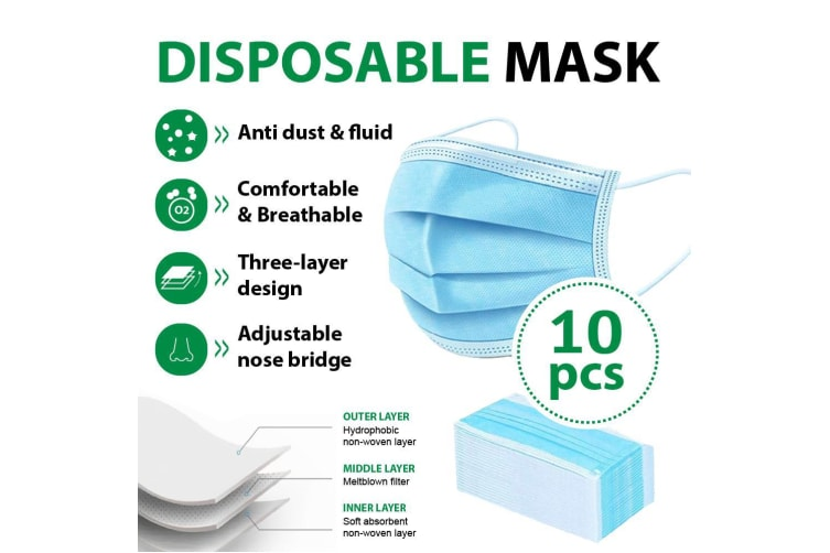10Pcs Disposable Face Mask Protective Masks 3 layer Meltblown Filter for General Purpose