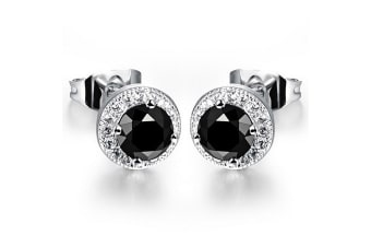 Emporium Luxe Earrings-White Gold/Black