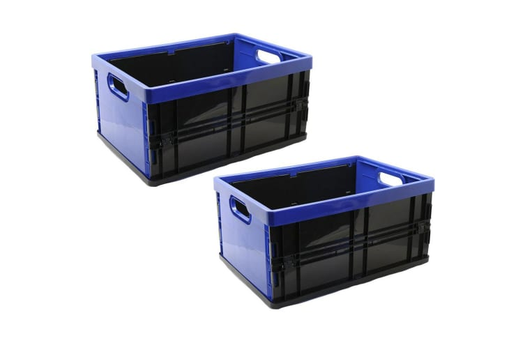 2x Box Sweden 45L 53.5cm Rectangle Collapsible/Foldable Crate Storage Large Blue