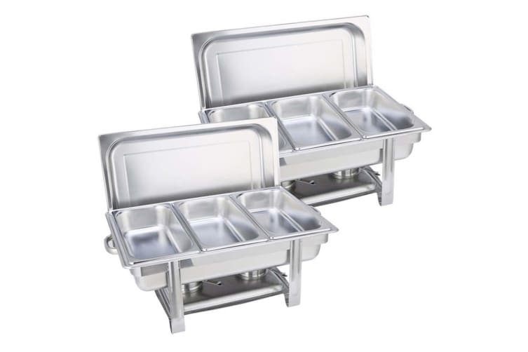 SOGA 2X Triple Tray Stainless Steel Chafing Catering Dish Food Warmer