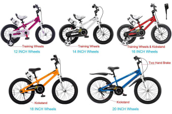 RoyalBaby Freestyle 14'' Kid's Bike for Boys and Girls, 14 inch with Training Wheels & Water Bottle, in Multiple Colors
