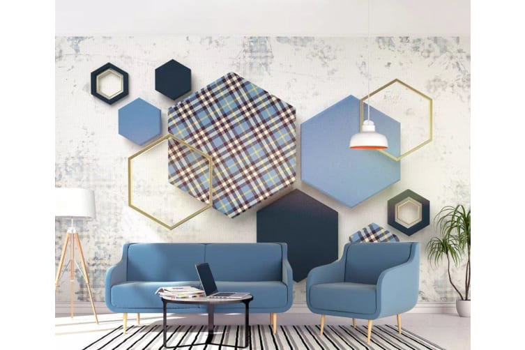 3D Color Geometry 1452 Wall Murals Woven paper (need glue), XL 208cm x 146cm (WxH)(82''x58'')