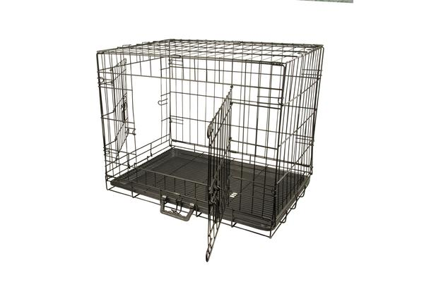 "24"" Foldable Metal Wire Dog Cage with Wire Mesh Floor & Removable Tray"