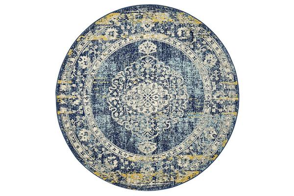 Hazel Navy & Yellow Durable Vintage Look Round Rug 150x150cm